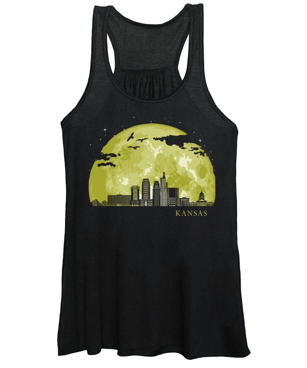 Texas Women's Tank Top featuring the digital art Kansas Moon Light Night Stars Skyline by Filip Hellman