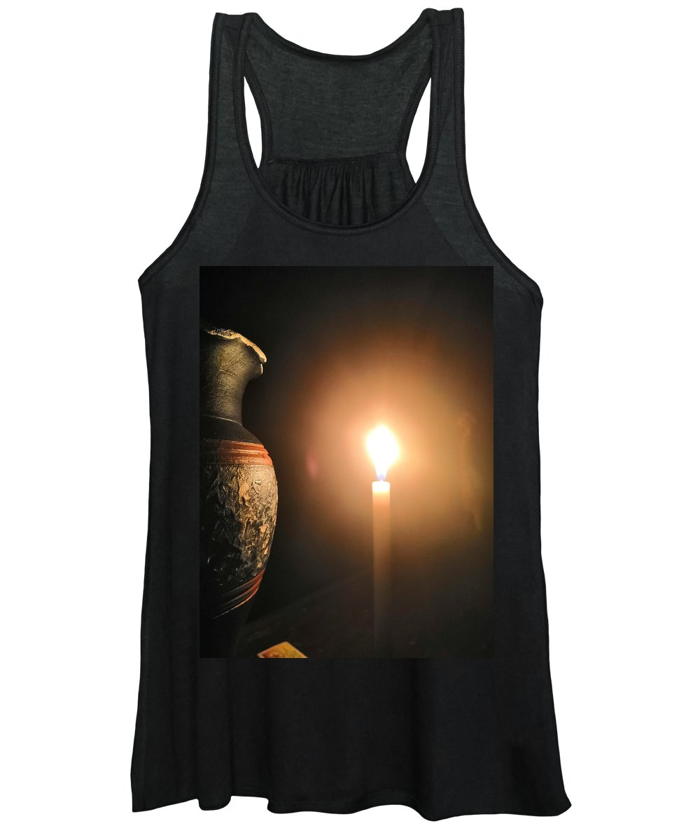 Candle Light Women's Tank Top featuring the photograph Light in the dark by Ian Batanda