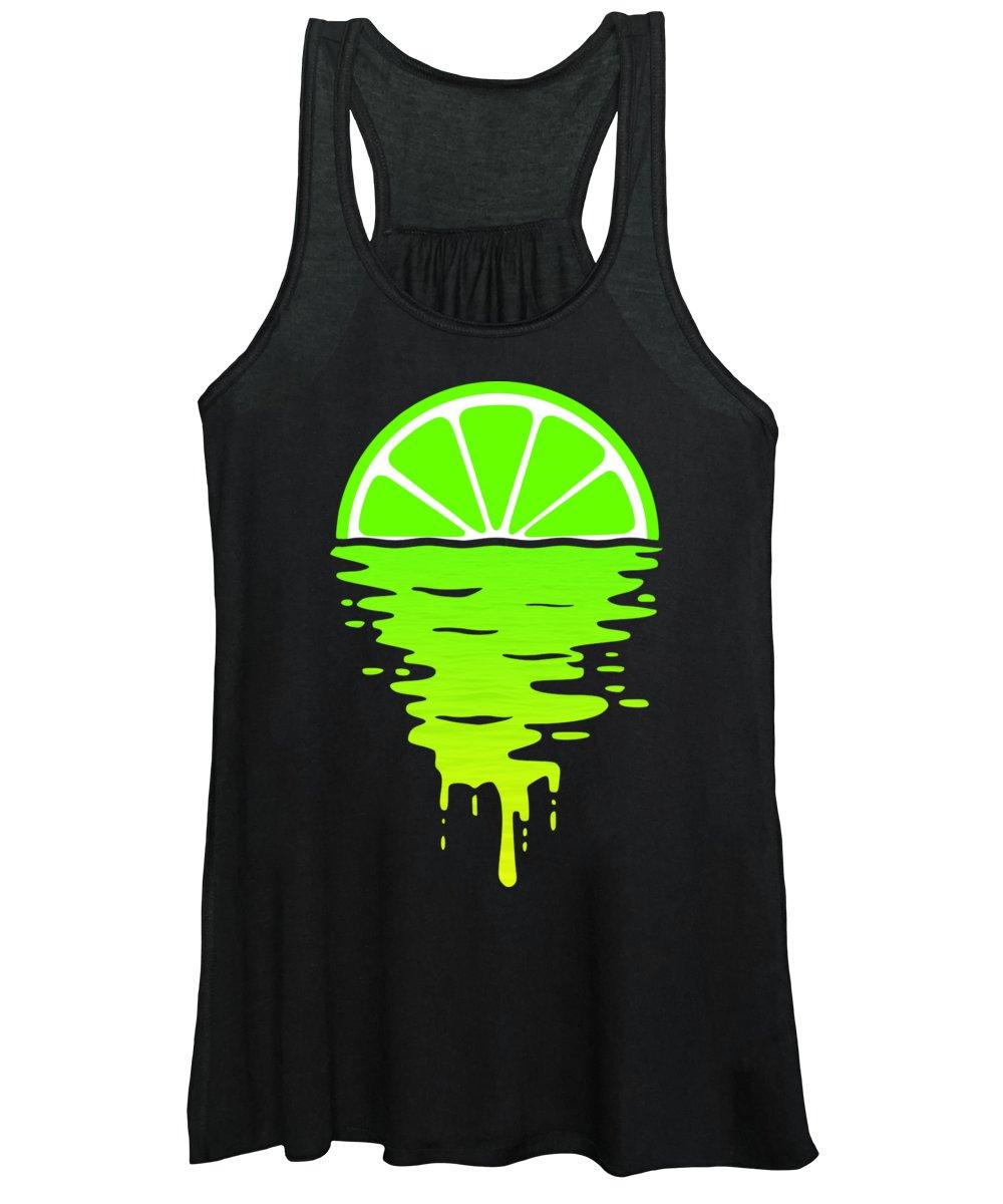 Lemon Women's Tank Top featuring the digital art Lime Sunset by Filip Schpindel