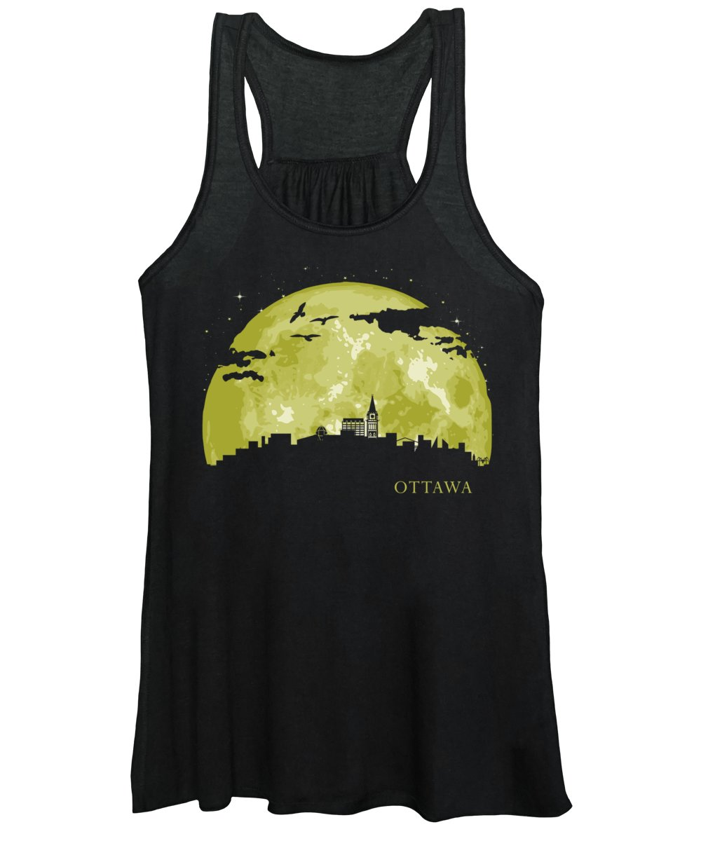 Ottawa Women's Tank Top featuring the digital art Ottawa Moon Light Night Stars Skyline by Filip Hellman
