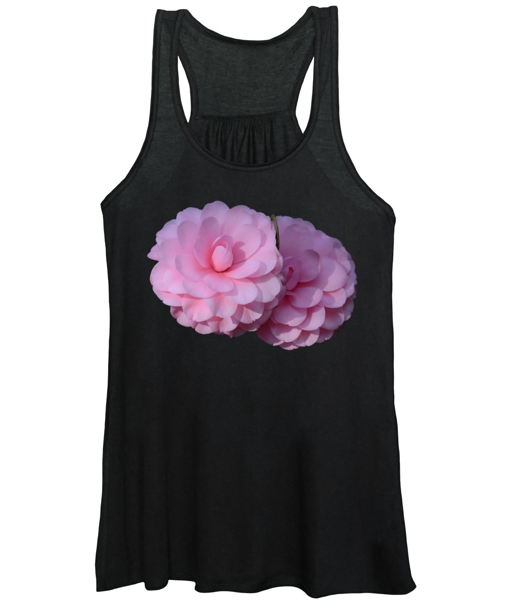 Camellias Women's Tank Top featuring the photograph Pink Camellias by Zina Stromberg