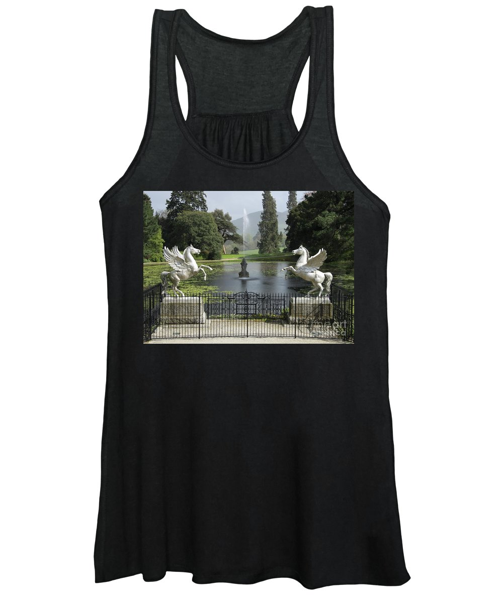 Powerscourt Women's Tank Top featuring the photograph Powerscourt House Terrace And Fountain by Christiane Schulze Art And Photography