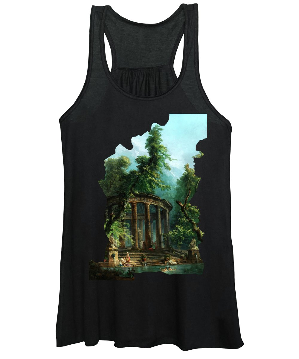 The Bathing Pool Women's Tank Top featuring the painting The Bathing Pool By Hubert Robert by Xzendor7