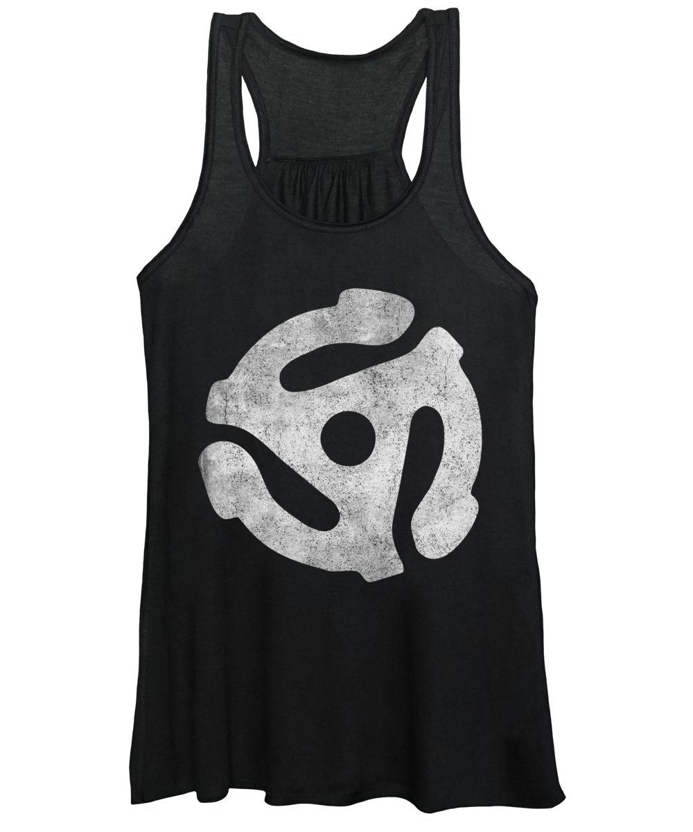 Cool Women's Tank Top featuring the digital art Vintage 45 Rpm Record Adapter by Flippin Sweet Gear