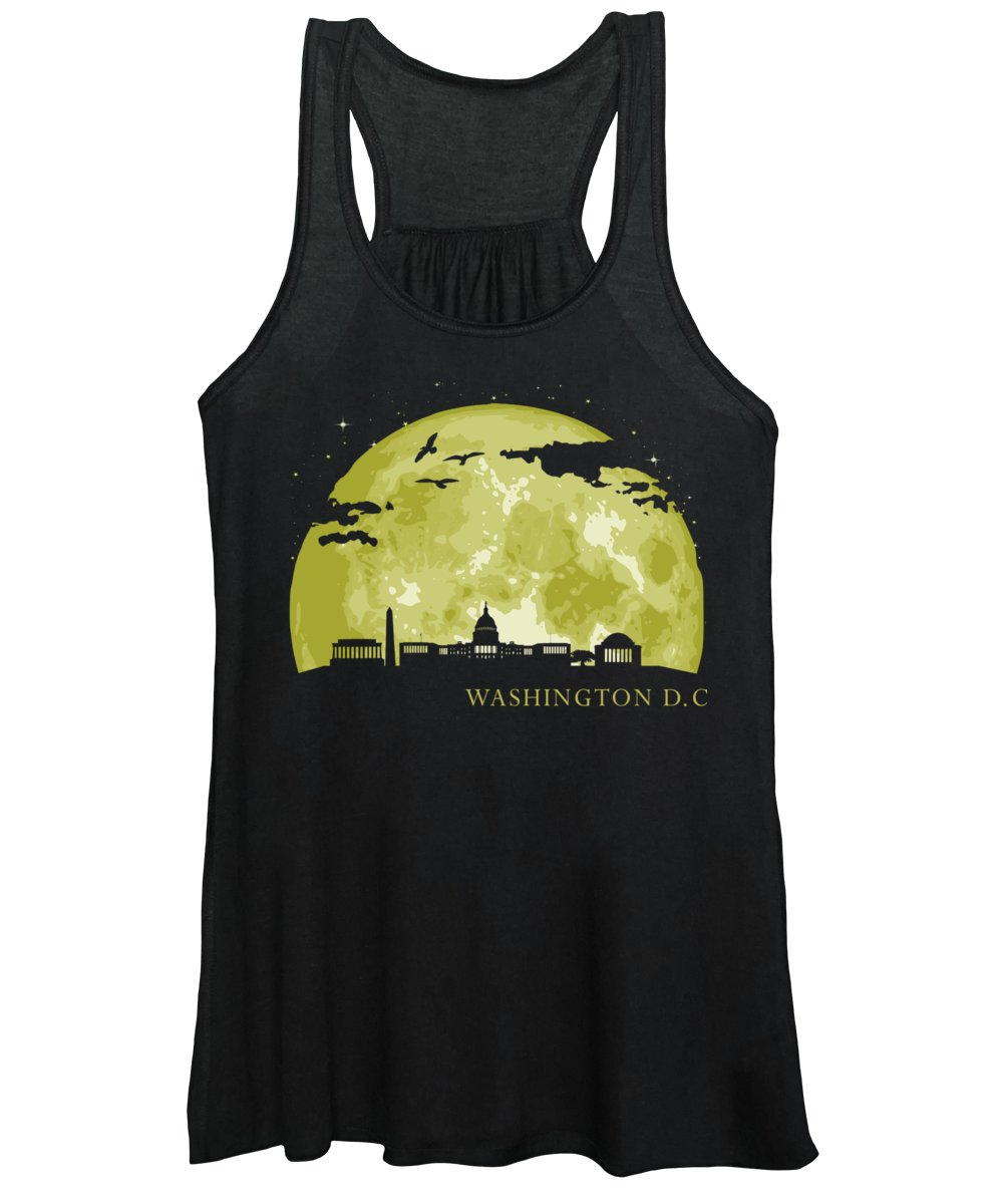 Usa Women's Tank Top featuring the digital art Washington Dc Moon Light Night Stars Skyline by Filip Hellman