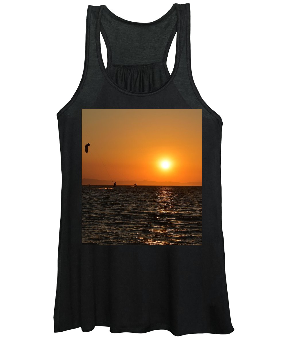 Kitesurfing Women's Tank Top featuring the photograph Red sea sunset by Luca Lautenschlaeger