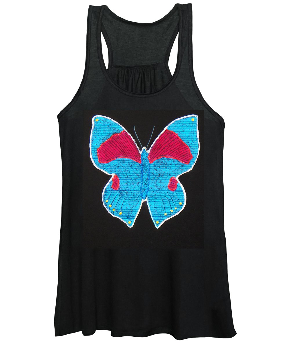 Drawing Women's Tank Top featuring the mixed media Butterfly by Sergey Bezhinets
