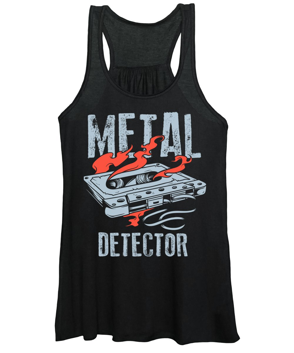 Funny Women's Tank Top featuring the digital art Cassette Tape Metal Detector by Jacob Zelazny