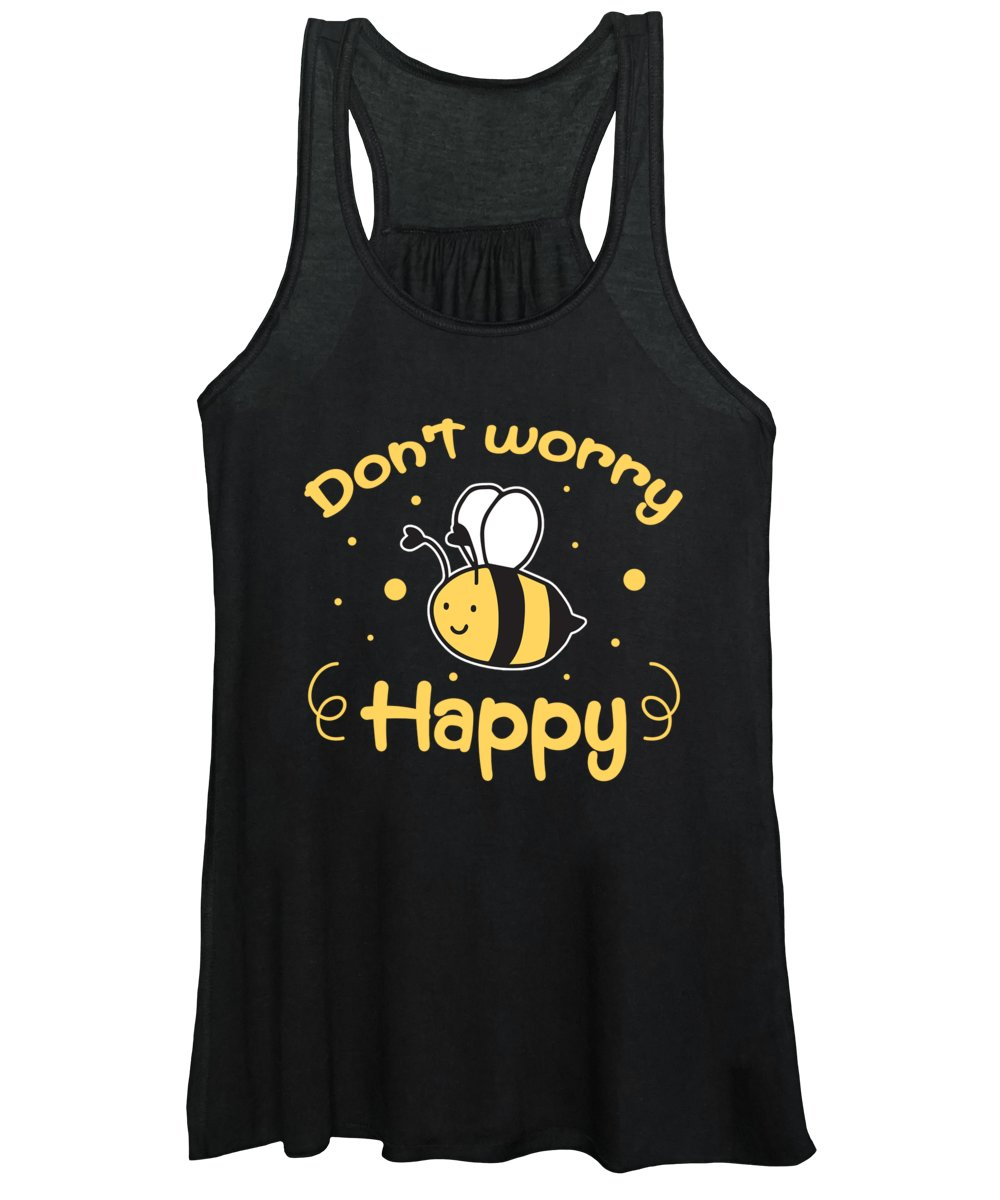 Bee Women's Tank Top featuring the digital art Dont Worry Be Happy Bee Beekeeper Honeycomb Gift by Thomas Larch