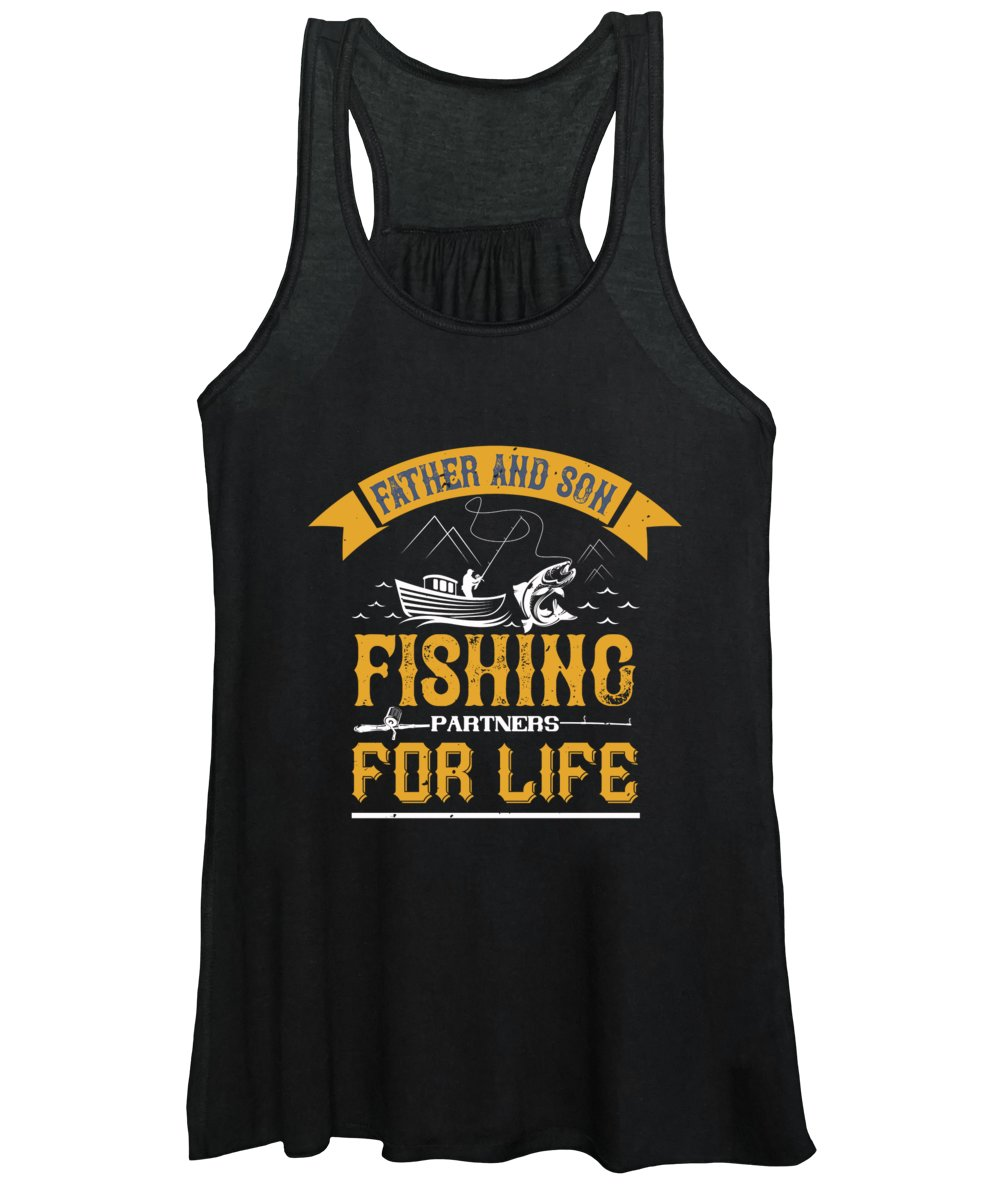 Funny Fishing Women's Tank Top featuring the digital art Father and son fishing partners for life by Jacob Zelazny
