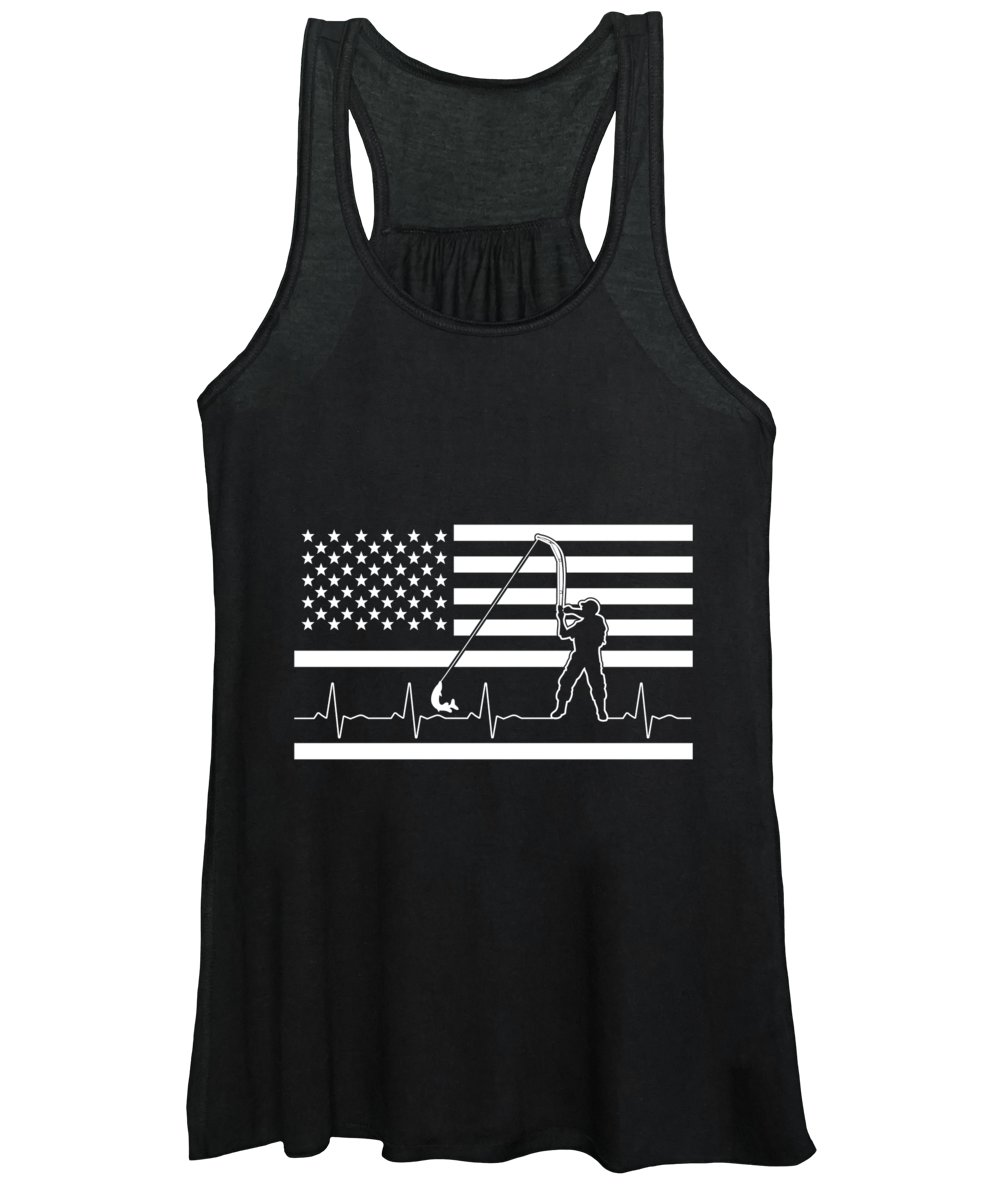 Fishing Lure Women's Tank Top featuring the digital art Fishing American Flag Fisherman Heartbeat by Jacob Zelazny
