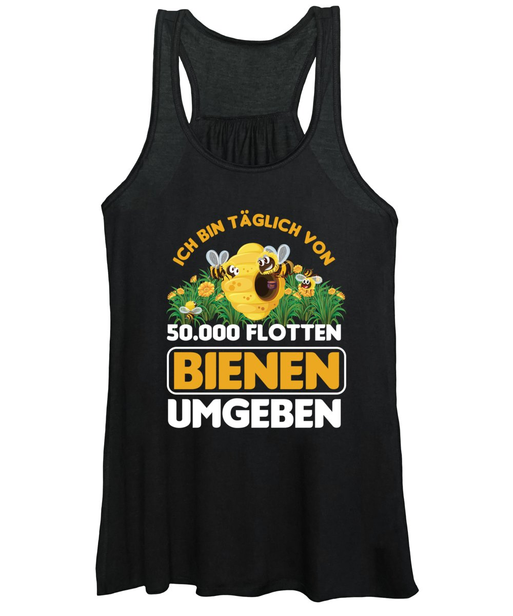 Bee Women's Tank Top featuring the digital art Ich Bin Tglich Von Bee Beekeeper Honeycomb Gift by Thomas Larch