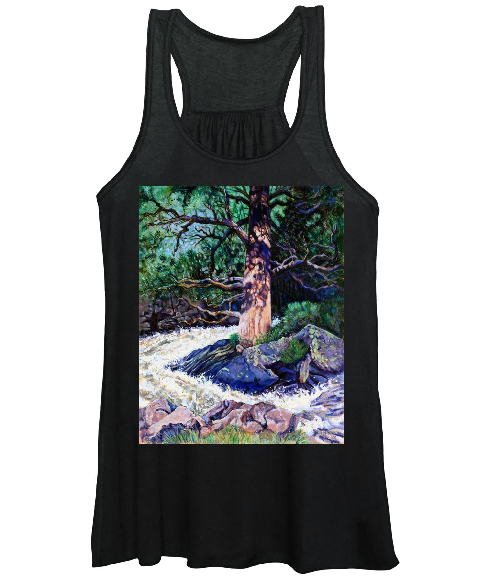 Old Pine Women's Tank Top featuring the painting Old Pine In Rushing Stream by John Lautermilch
