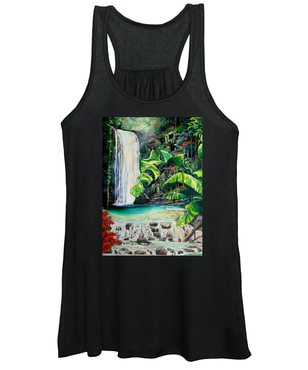 Water Fall Painting Landscape Painting Rain Forest Painting River Painting Caribbean Painting Original Oil Painting Paria Northern Mountains Of Trinidad Painting Tropical Painting Women's Tank Top featuring the painting Rainforest Falls Trinidad.. by Karin Dawn Kelshall- Best