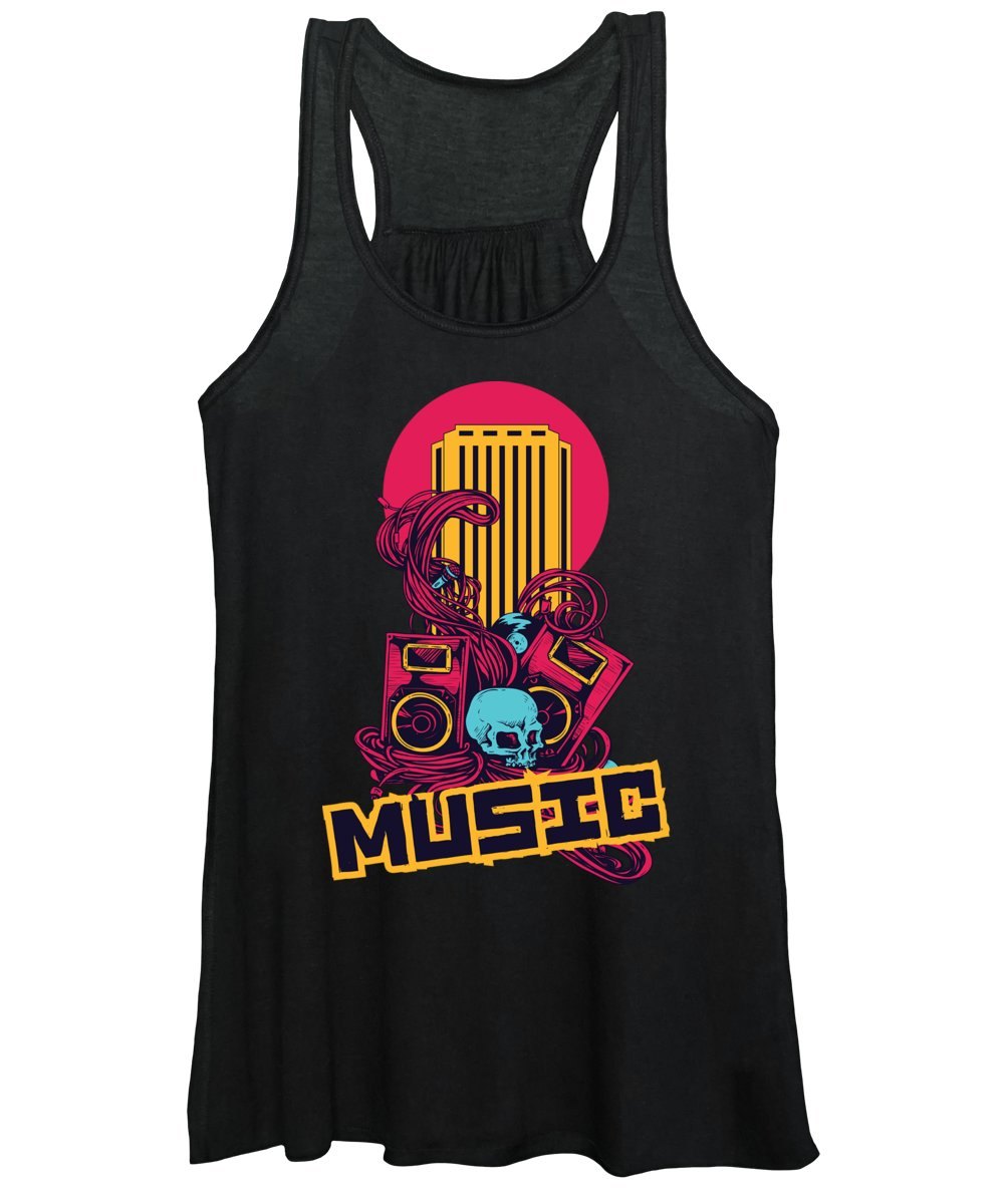 Colorful Women's Tank Top featuring the digital art Retro Music Hipster Speakers Tangled Wires by Jacob Zelazny