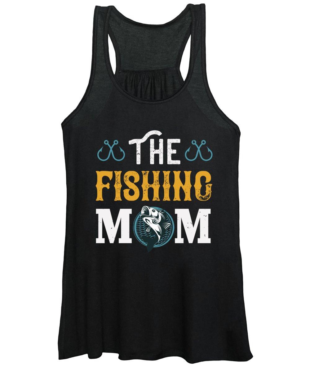 Funny Fishing Women's Tank Top featuring the digital art The Fishing Mom by Jacob Zelazny