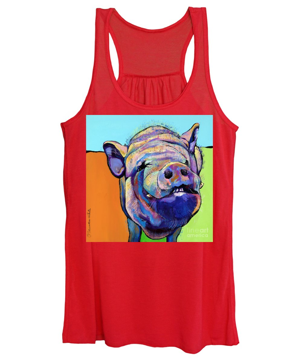 Pat Saunders-white Canvas Prints Women's Tank Top featuring the painting Grunt  by Pat Saunders-White