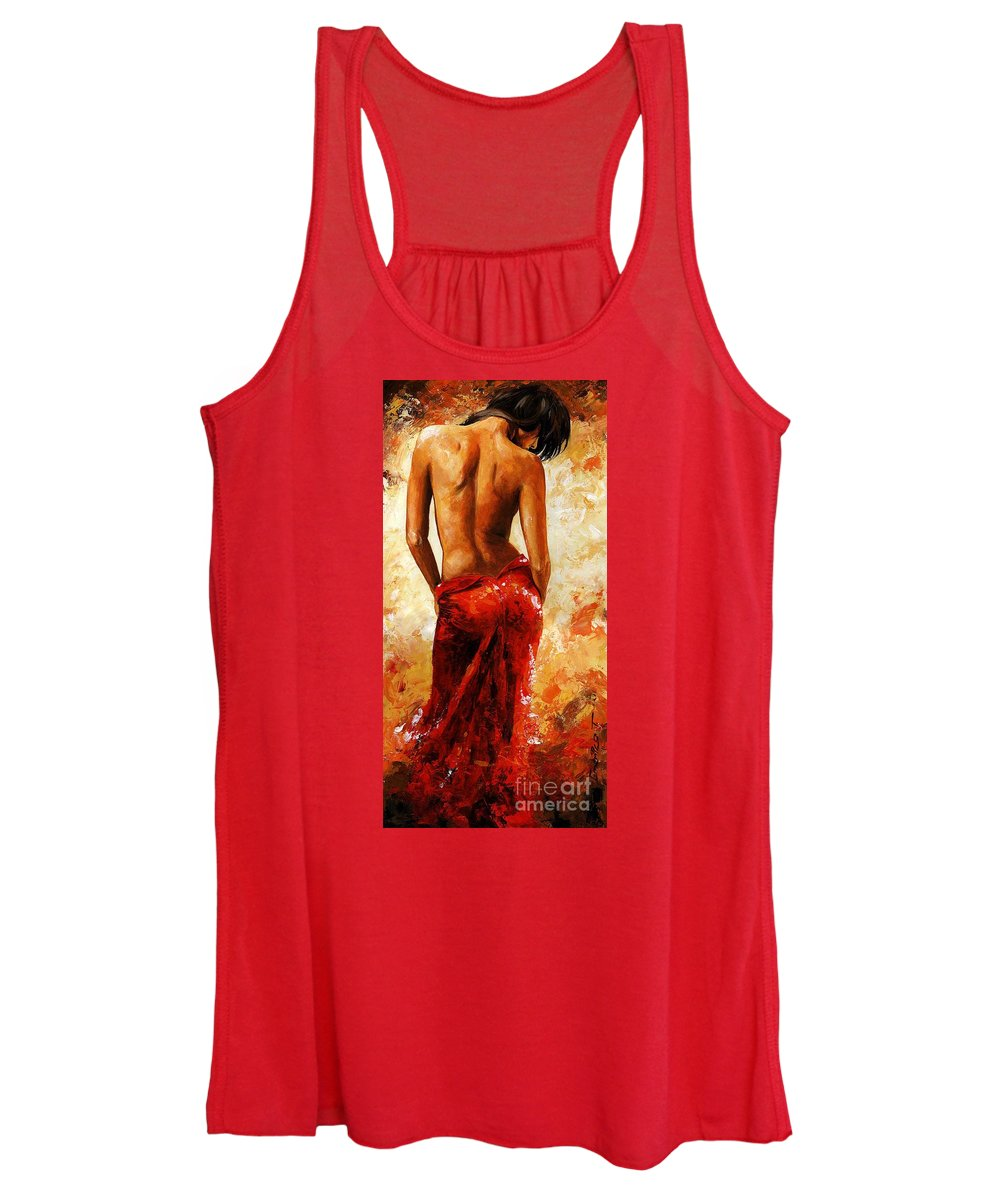 Nude Women's Tank Top featuring the painting Lady In Red 27 by Emerico Imre Toth