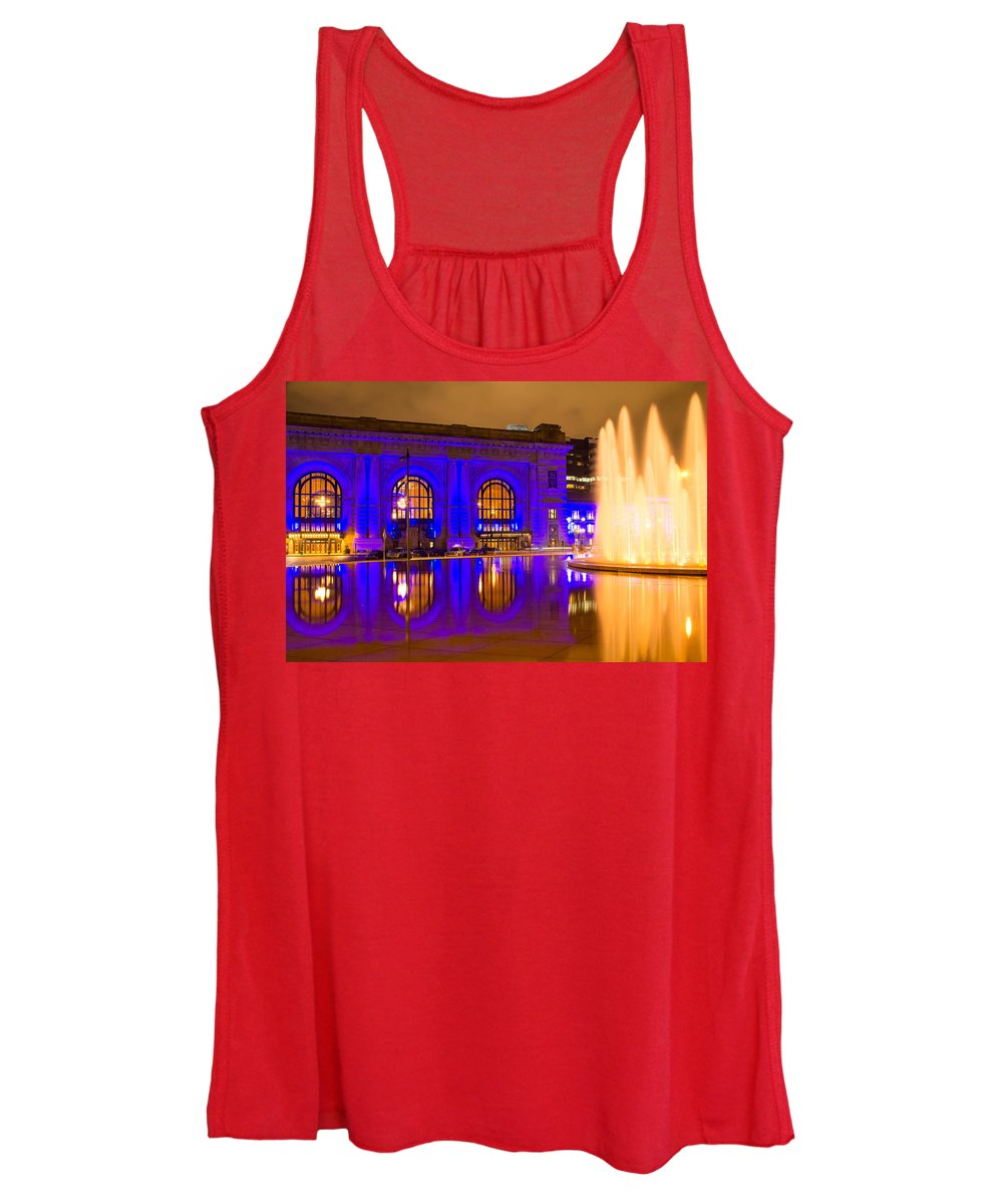 Steven Bateson Women's Tank Top featuring the photograph Royal Blue Reflections Union Station by Steven Bateson