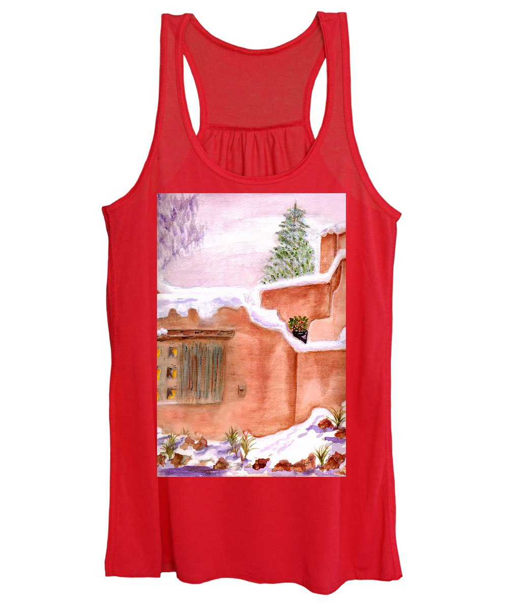 Watercolor Women's Tank Top featuring the painting Winter Adobe by Paula Ayers
