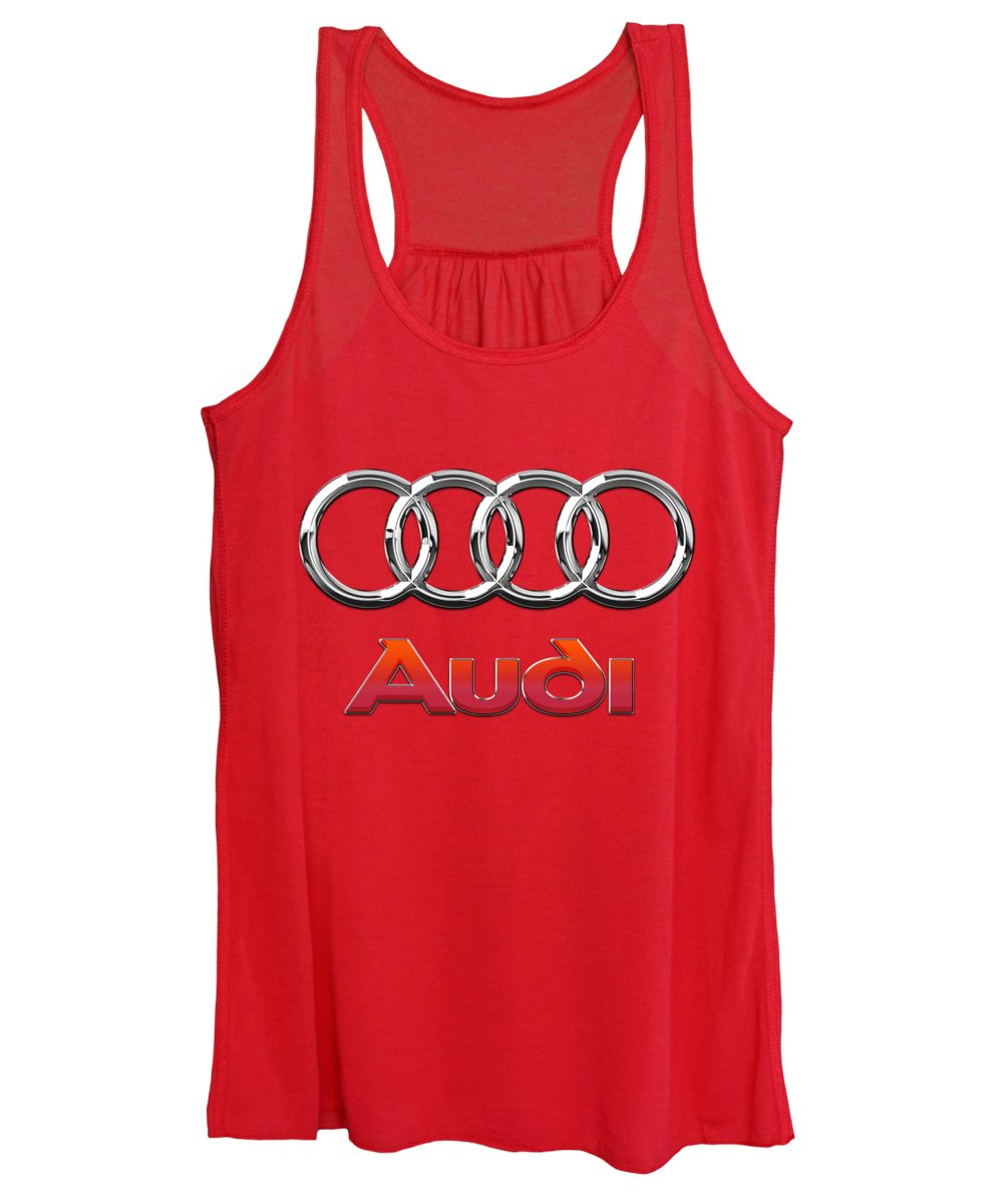Wheels Of Fortune By Serge Averbukh Women's Tank Top featuring the photograph Audi - 3d Badge On Red by Serge Averbukh