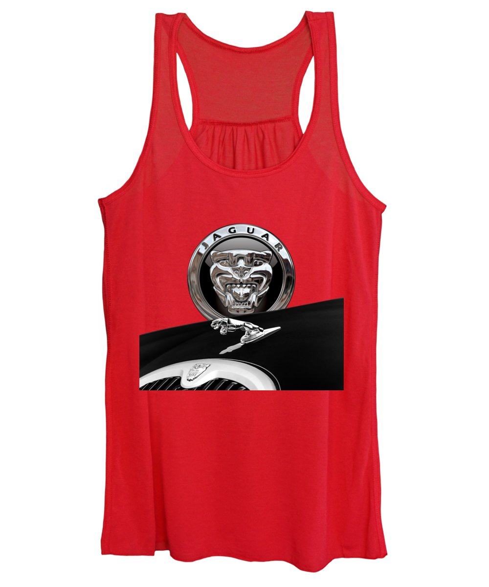 'auto Badges' Collection By Serge Averbukh Women's Tank Top featuring the photograph Black Jaguar - Hood Ornaments And 3 D Badge On Red by Serge Averbukh