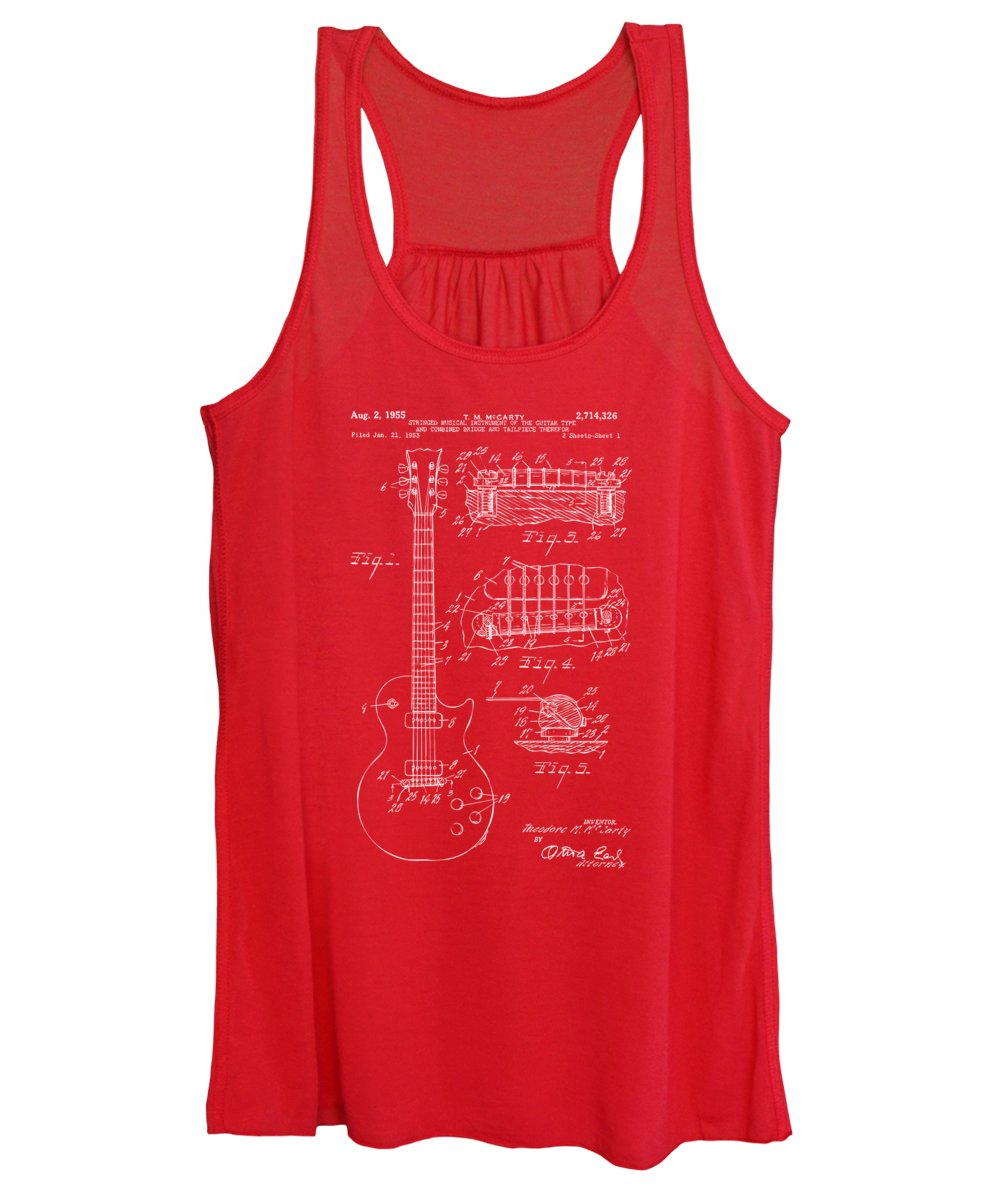 Guitar Women's Tank Top featuring the digital art 1955 McCarty Gibson Les Paul Guitar Patent Artwork Red by Nikki Marie Smith