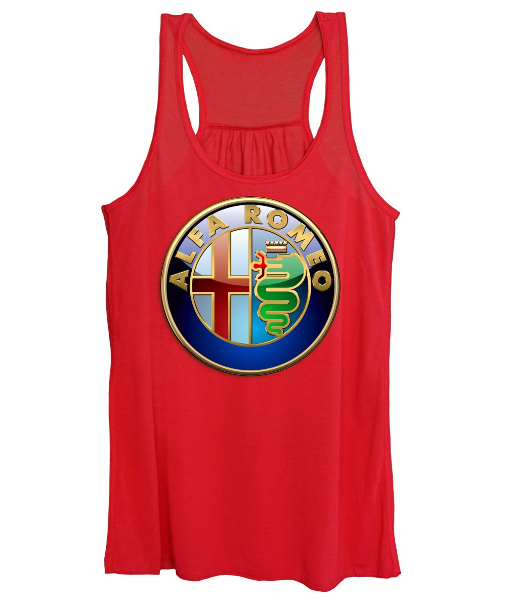Wheels Of Fortune By Serge Averbukh Women's Tank Top featuring the photograph Alfa Romeo - 3d Badge On Red by Serge Averbukh