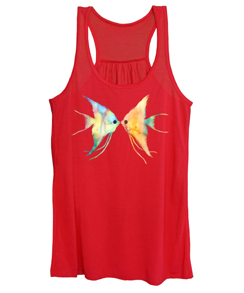 Fish Women's Tank Top featuring the painting Angelfish Kissing by Hailey E Herrera