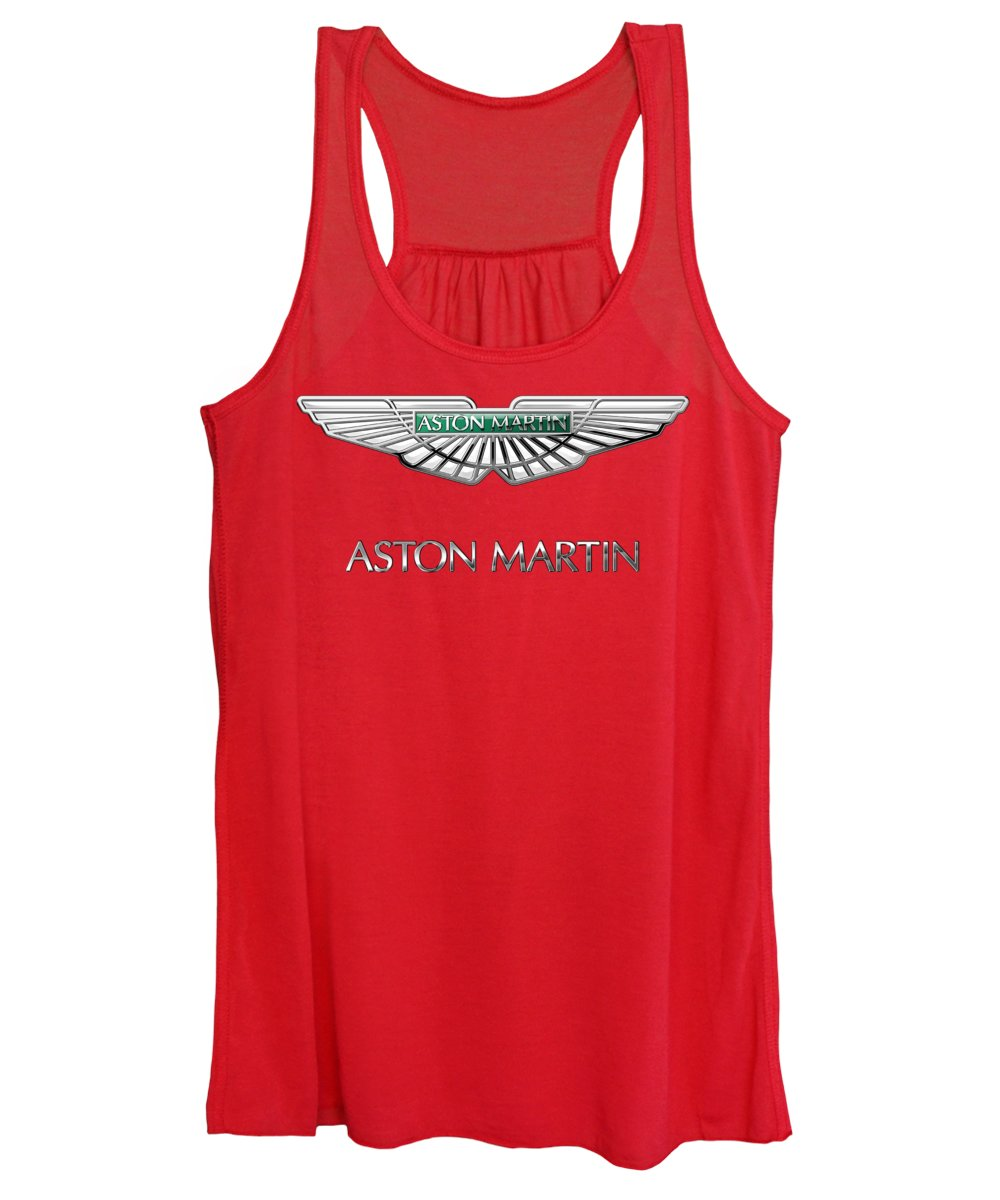Wheels Of Fortune� Collection By Serge Averbukh Women's Tank Top featuring the photograph Aston Martin - 3 D Badge On Red by Serge Averbukh