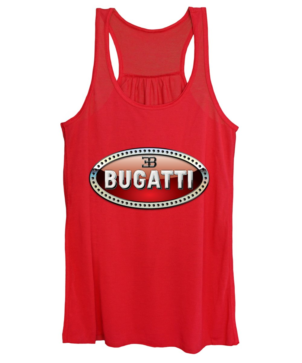 �wheels Of Fortune� Collection By Serge Averbukh Women's Tank Top featuring the photograph Bugatti - 3 D Badge On Red by Serge Averbukh
