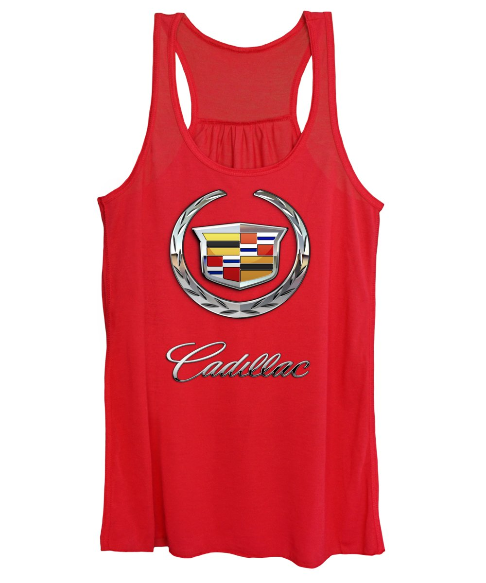 �wheels Of Fortune� Collection By Serge Averbukh Women's Tank Top featuring the photograph Cadillac - 3 D Badge On Red by Serge Averbukh