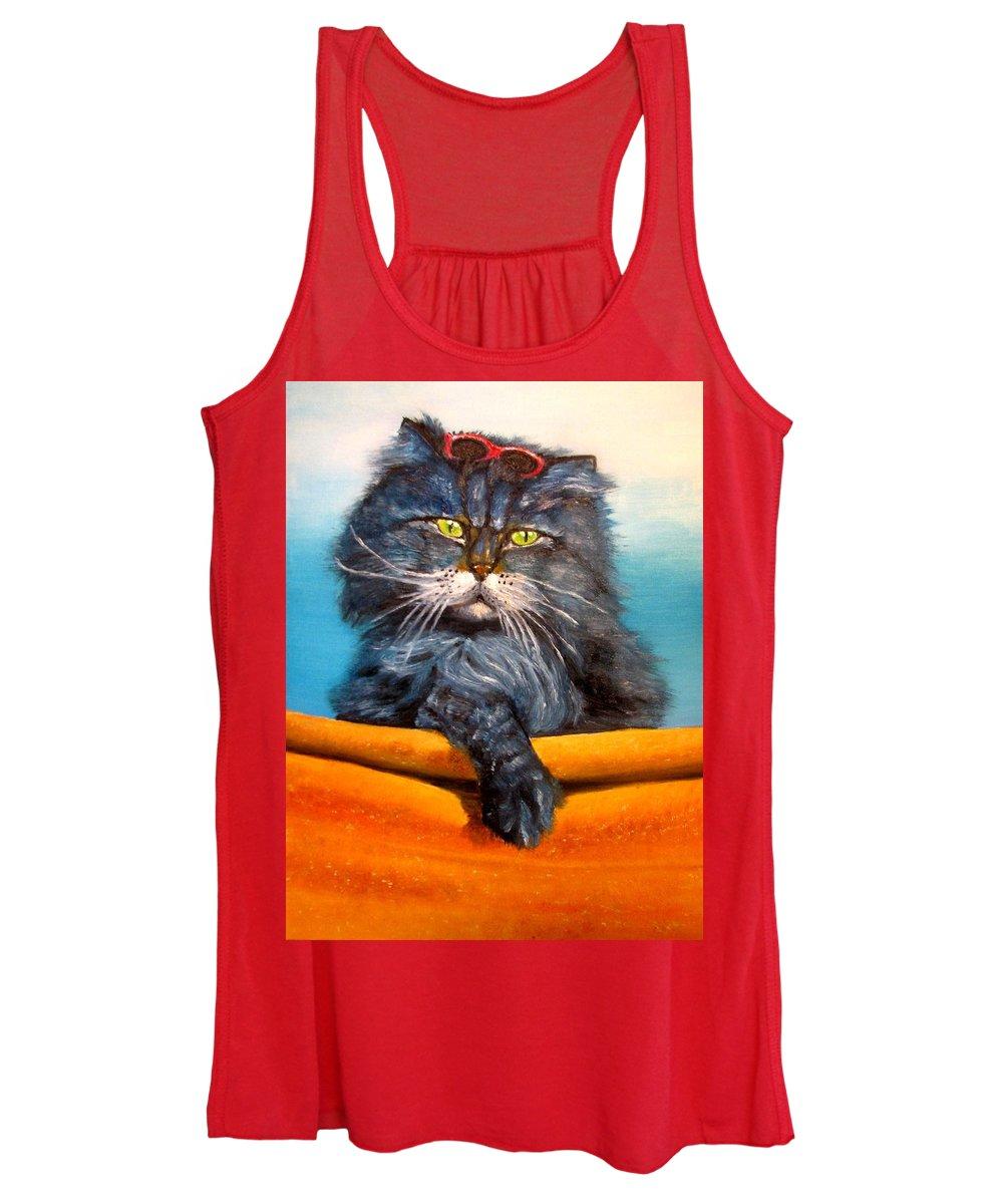 Cat Women's Tank Top featuring the painting Cat.Go to swim.Original oil painting by Natalja Picugina