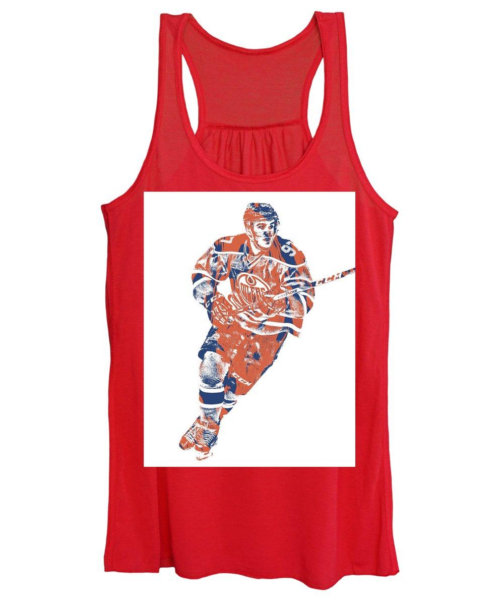 Connor Mcdavid Women's Tank Top featuring the mixed media Connor Mcdavid Edmonton Oilers Pixel Art 5 by Joe Hamilton