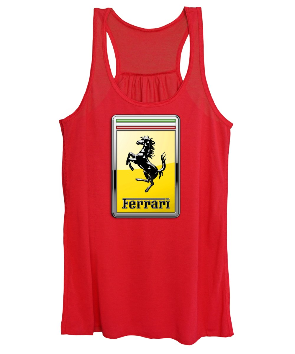 �auto Badges� Collection By Serge Averbukh Women's Tank Top featuring the photograph Ferrari 3d Badge-hood Ornament On Red by Serge Averbukh