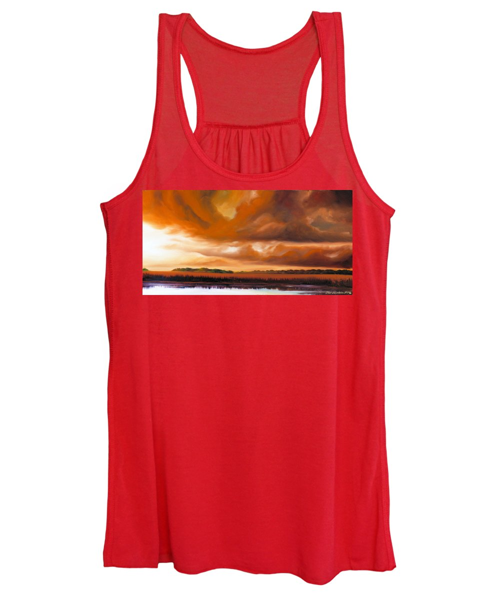 Clouds Women's Tank Top featuring the painting Jetties On The Shore by James Christopher Hill