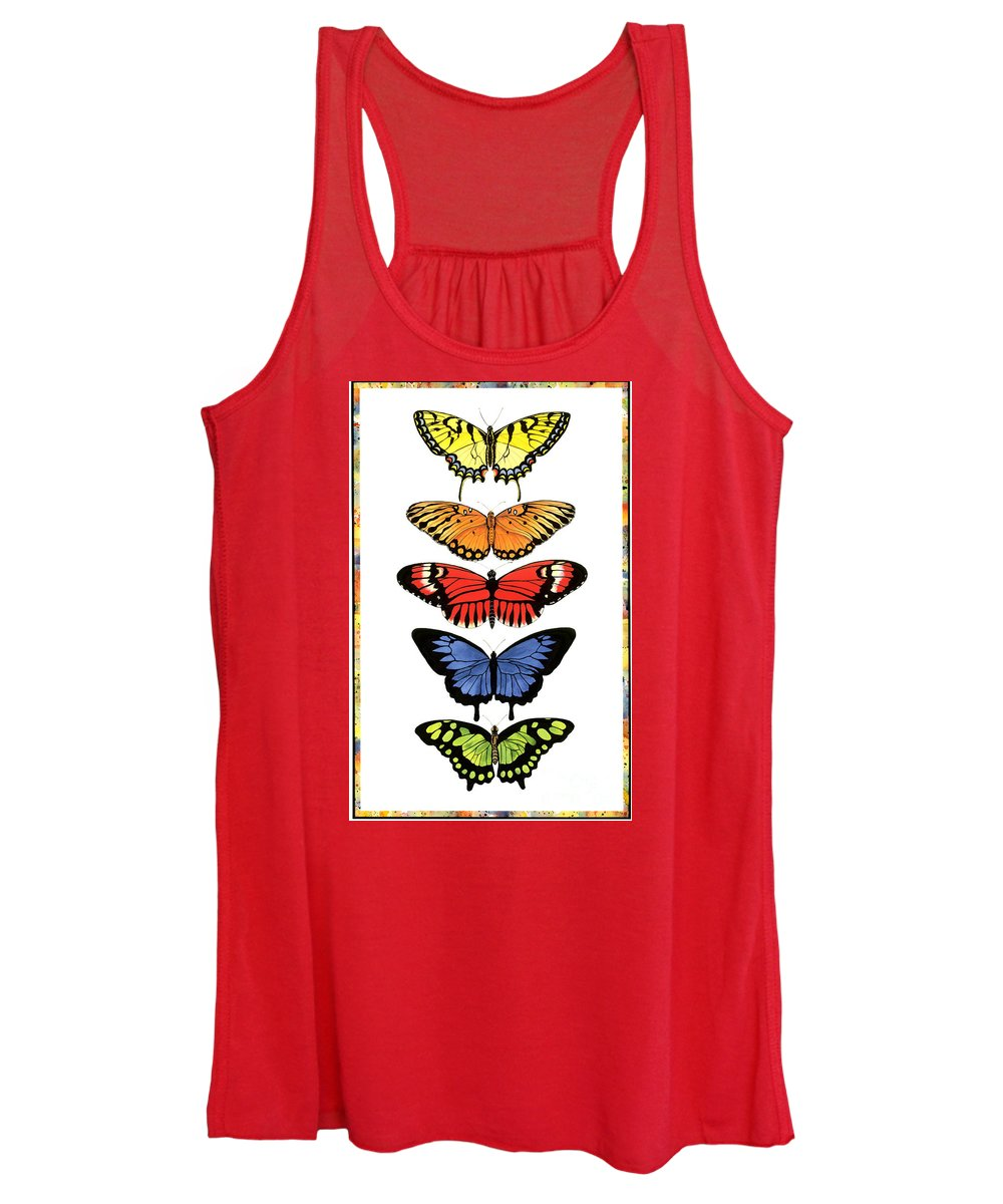 Butterflies Women's Tank Top featuring the painting Rainbow Butterflies by Lucy Arnold