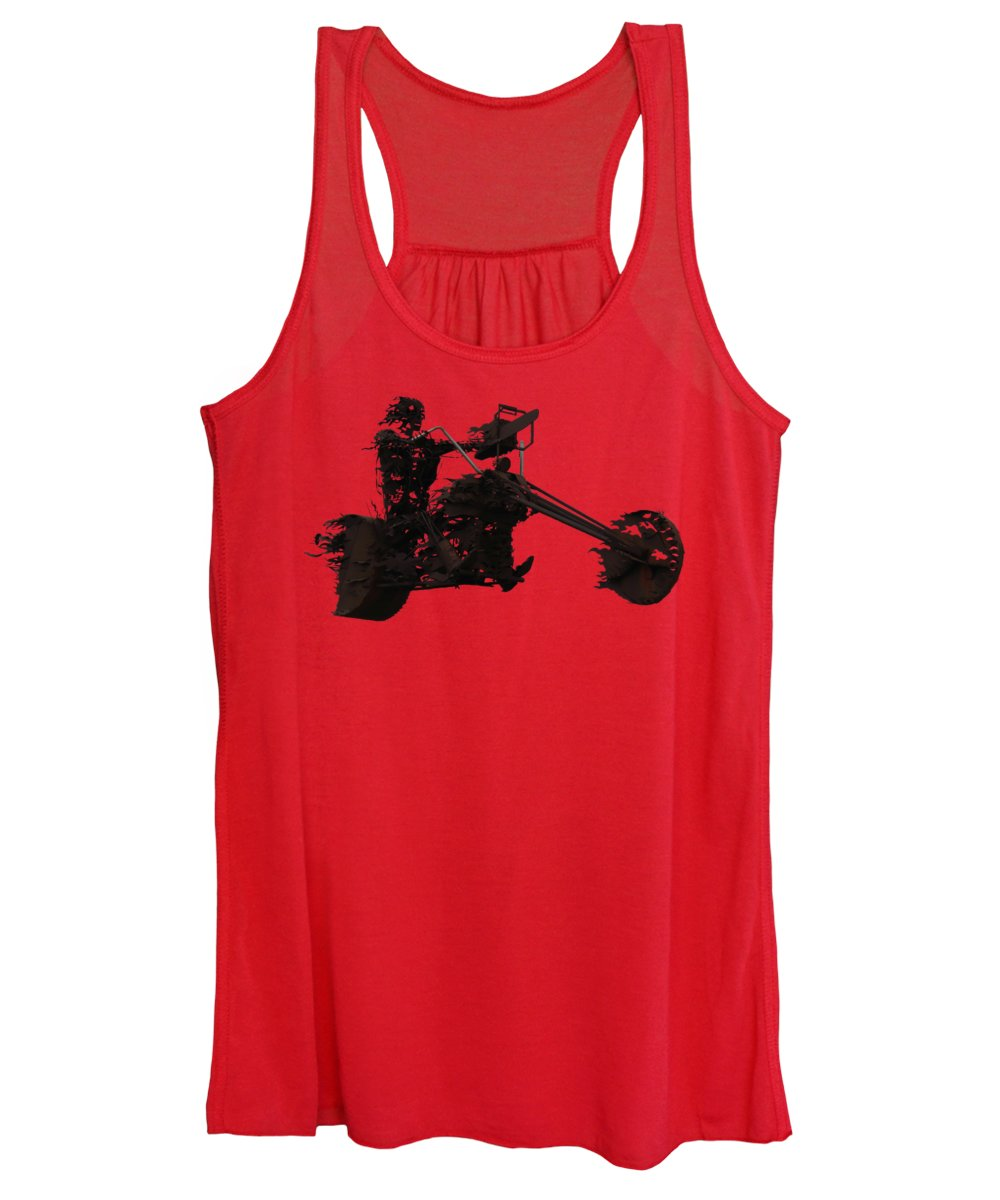Biker Women's Tank Top featuring the mixed media Sky Rider by Shane Bechler
