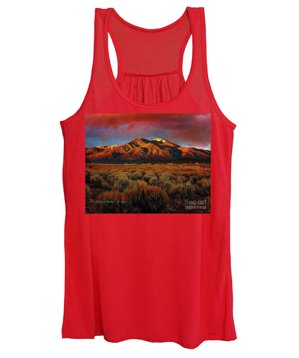 Taos Women's Tank Top featuring the mixed media Twilight Magic by Charles Muhle