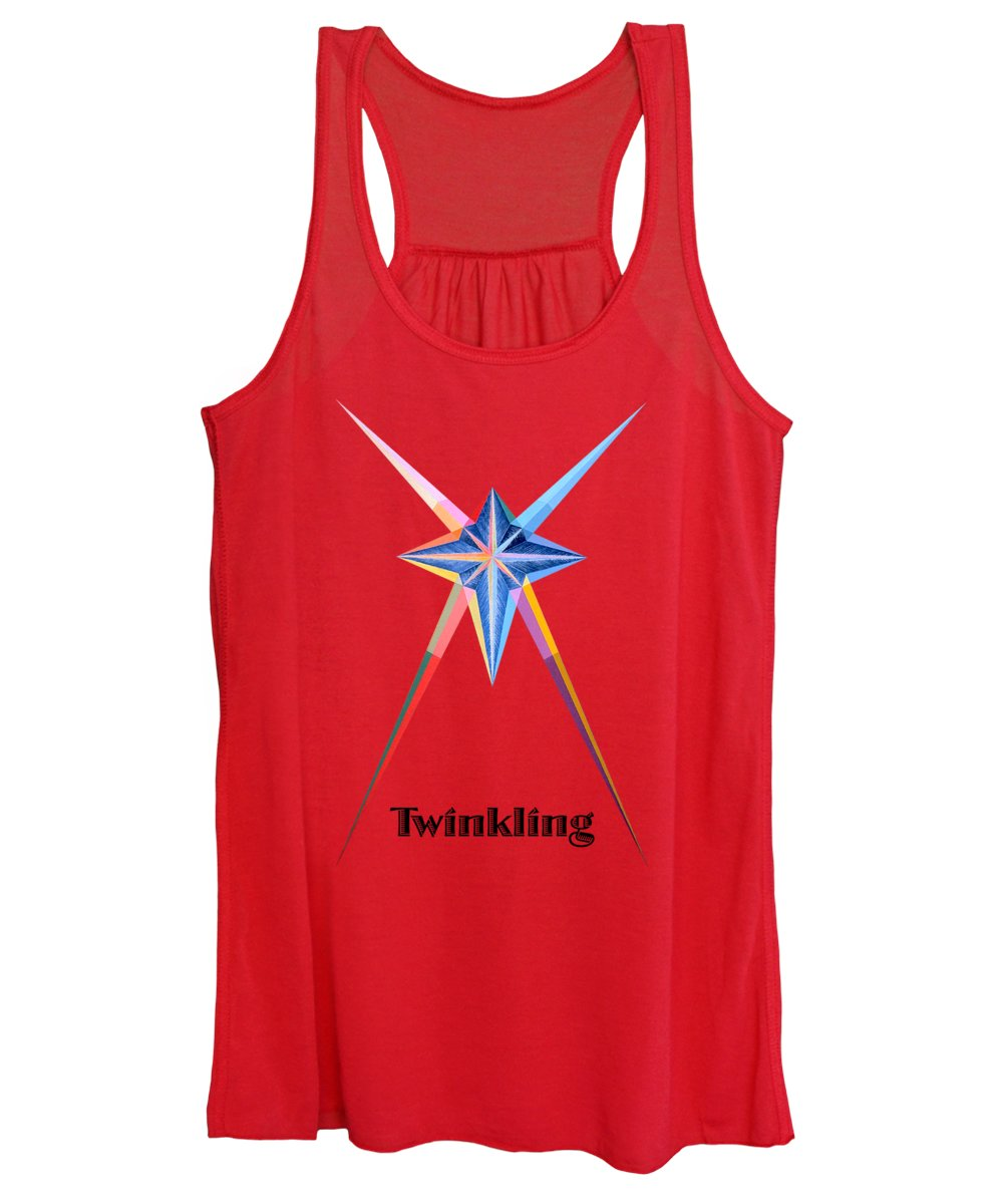 Collection Women's Tank Top featuring the painting Twinkling text by Michael Bellon