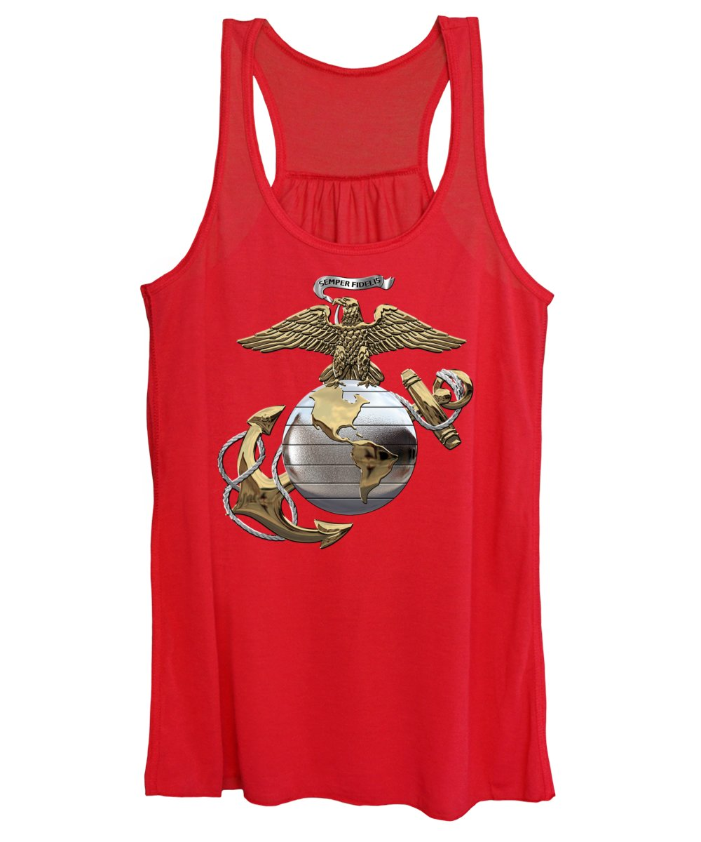 'usmc' Collection By Serge Averbukh Women's Tank Top featuring the digital art U. S. Marine Corps - U S M C Eagle Globe And Anchor Over Corps Flag by Serge Averbukh