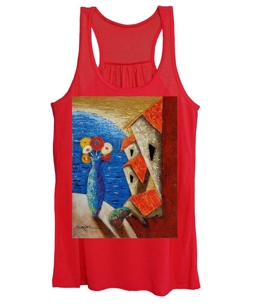 Landscape Women's Tank Top featuring the painting Ventana Al Mar by Oscar Ortiz