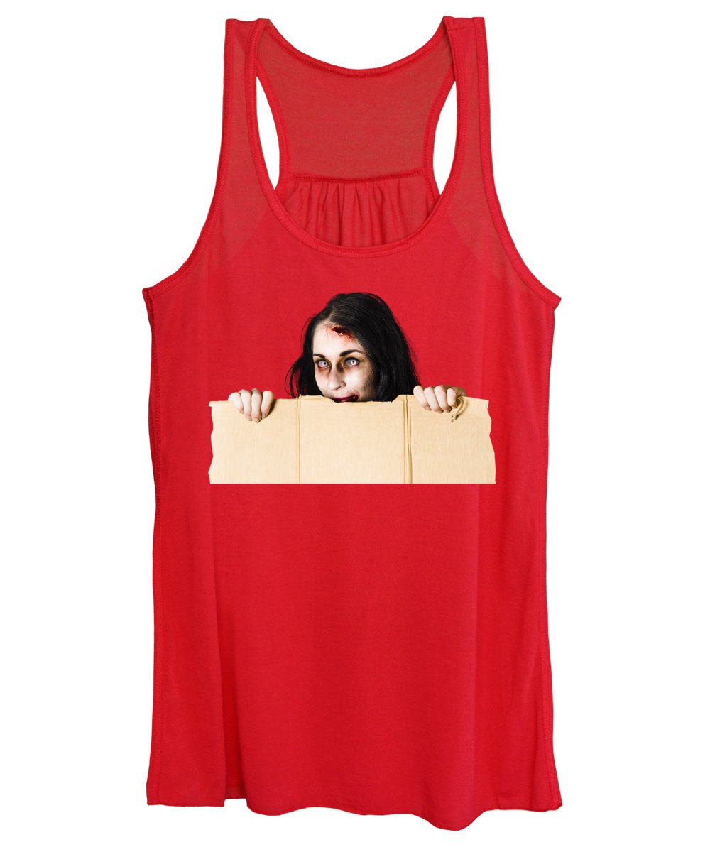 Halloween Women's Tank Top featuring the photograph Zombie Woman Peering Out Cardboard Box by Jorgo Photography - Wall Art Gallery