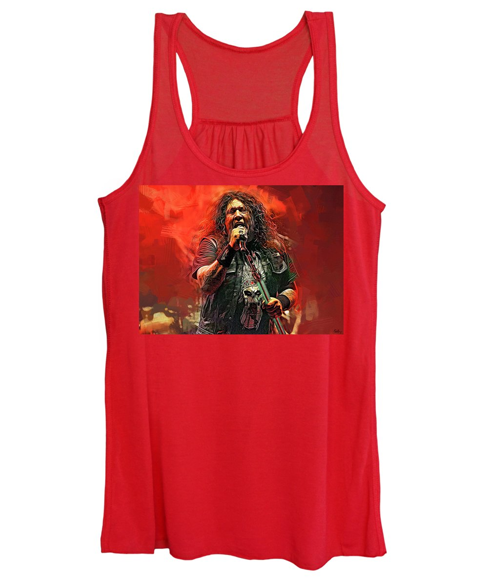 Chuck Billy Women's Tank Top featuring the mixed media Chuck Billy, Testament by Mal Bray