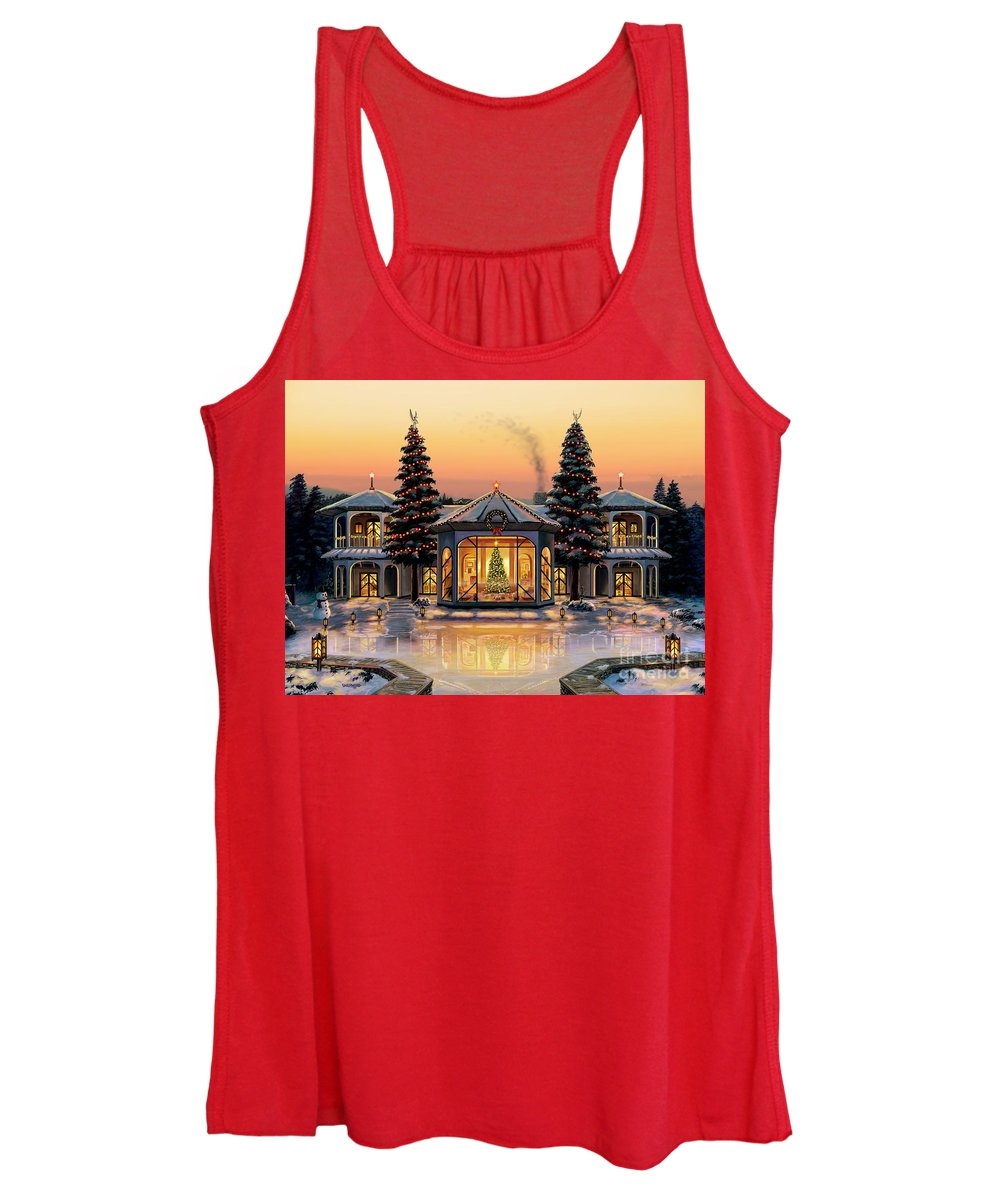 Christmas Women's Tank Top featuring the painting A Warm Home For The Holidays by Stu Shepherd
