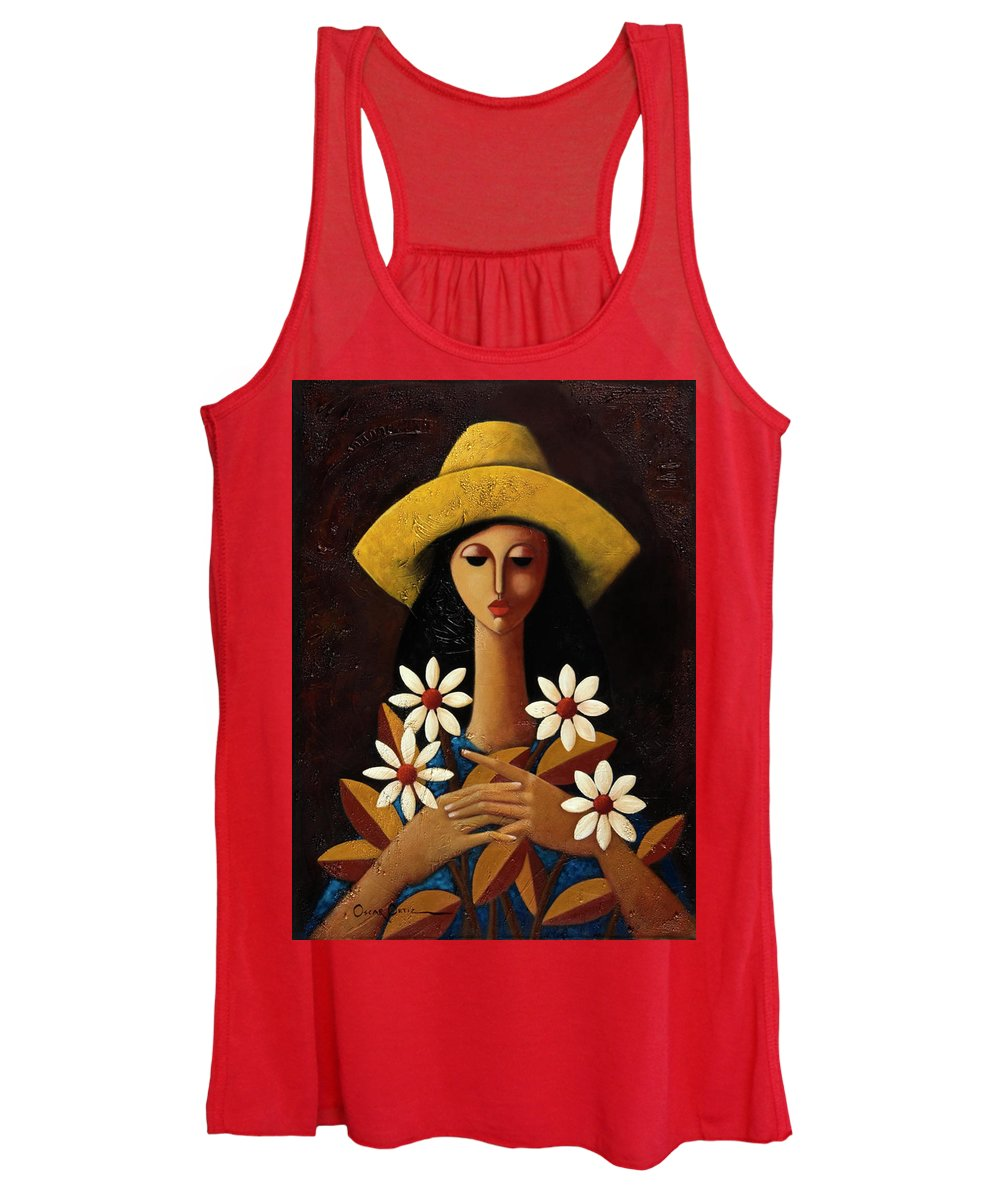 Puerto Rico Women's Tank Top featuring the painting Cinco Margaritas by Oscar Ortiz