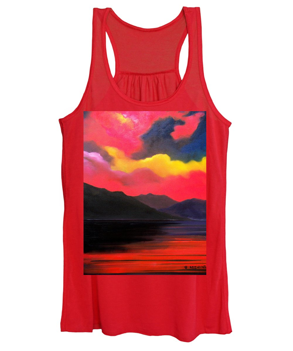 Surreal Women's Tank Top featuring the painting Crimson clouds by Sergey Bezhinets