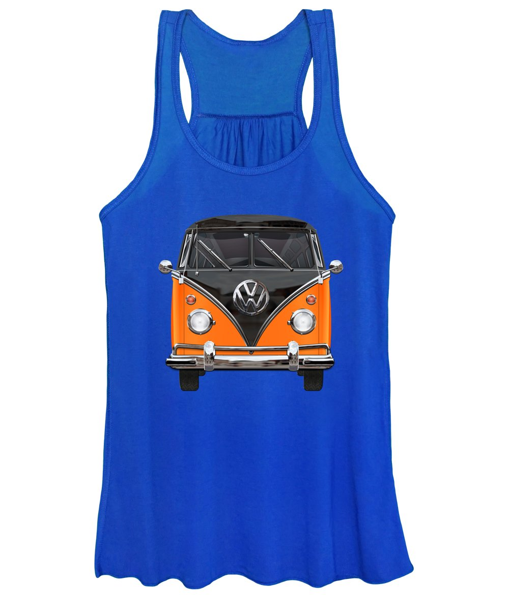 'volkswagen Type 2' Collection By Serge Averbukh Women's Tank Top featuring the photograph Volkswagen Type 2 - Black And Orange Volkswagen T 1 Samba Bus Over Blue by Serge Averbukh