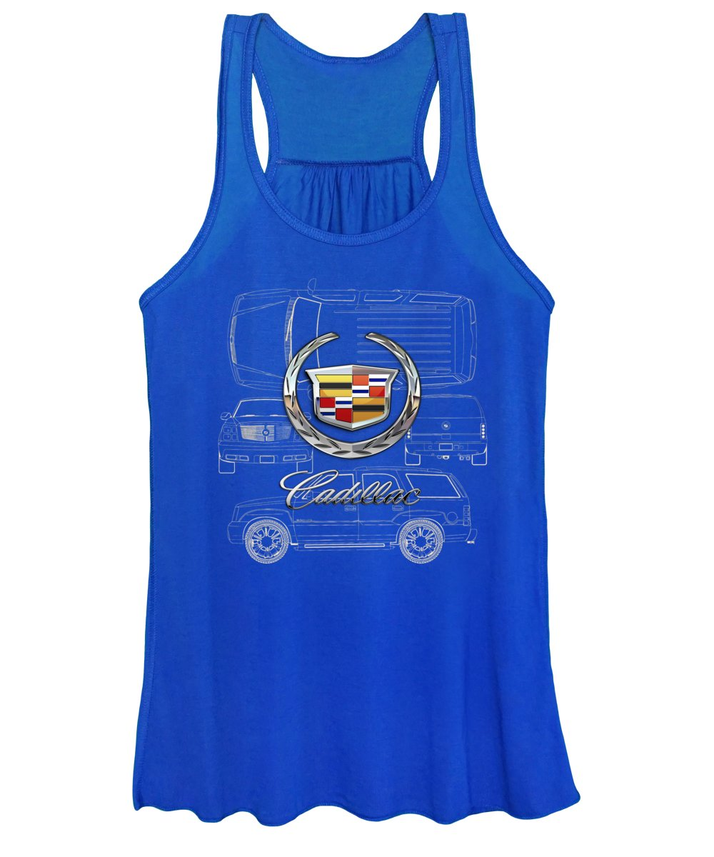 'wheels Of Fortune' By Serge Averbukh Women's Tank Top featuring the photograph Cadillac 3 D Badge over Cadillac Escalade Blueprint by Serge Averbukh