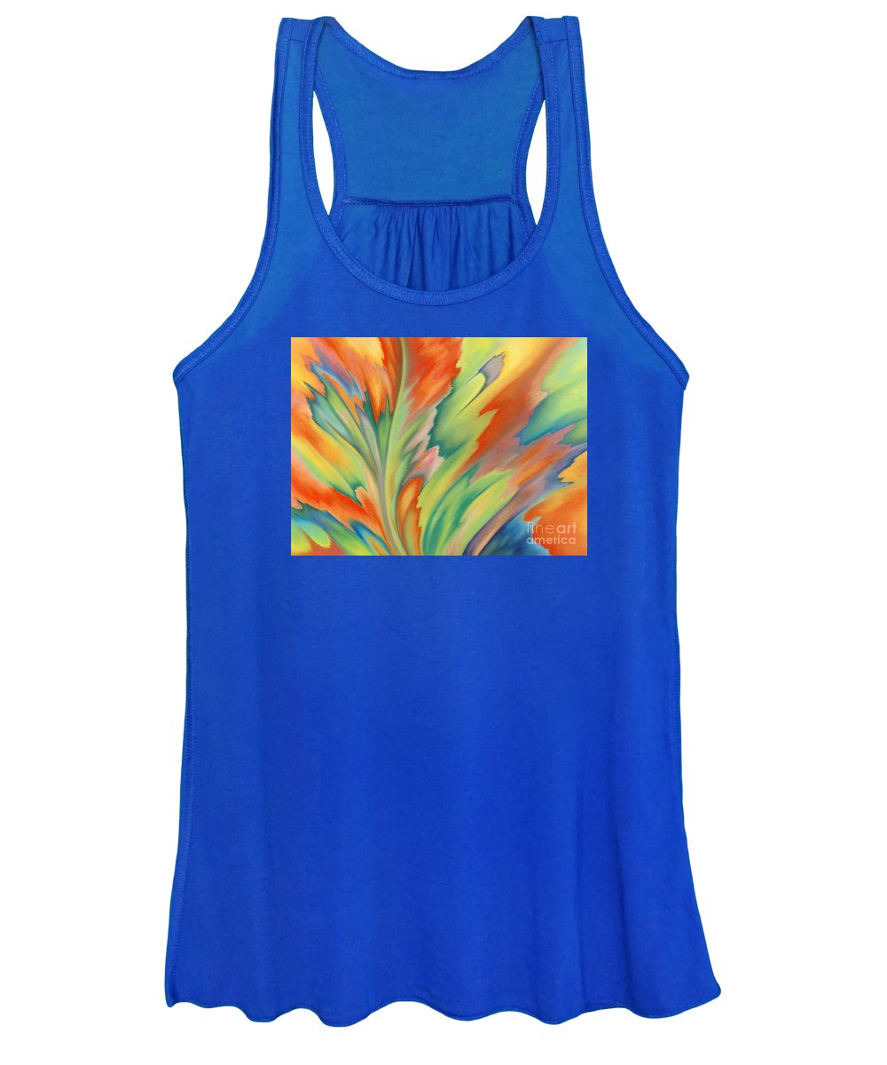 Abstract Women's Tank Top featuring the painting Autumn Flame by Lucy Arnold